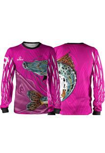 Camisa Pesca Quisty Pintado Moleque Rosa Proteção Uv Dryfit Infantil/Adulto - Kanui