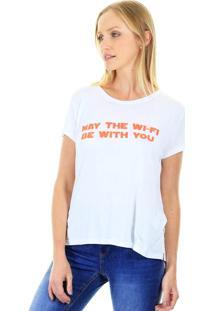 Camiseta Aha Básica Gola Redonda Com Estampa Frontal E Manga Curta Branca