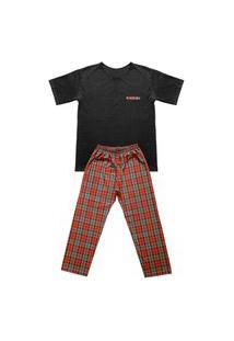 Pijama Adulto Look Jeans Pai E Filho Laranja/Preto
