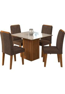 Conjunto De 4 Cadeiras Para Sala De Jantar 95X95 Ana/Tais-Cimol - Savana / Off White / Cacau