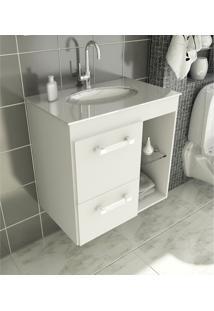 Gabinete Para Banheiro 60 Cm Com 2 Peças Linea 12 Branco Tomdo