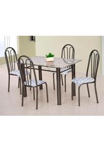 Conjunto De Mesa Carla Com 4 Cadeiras Craqueado Preto Capitonê