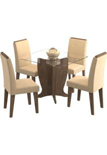 Sala De Jantar Luana 100 Cm Com 4 Cadeiras Marrocos Caramelo