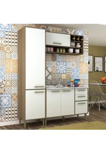 Cozinha Compacta 3 Peças 5 Portas Vitória Siena Móveis Avelã Tx/Branco