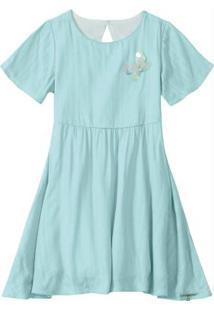 Vestido Azul Com Fio Lurex
