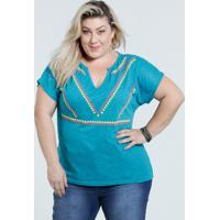 d5cbfaae9 Blusa Feminina Plus Size Estampa Frontal Marisa