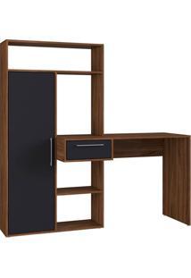 Escrivaninha Modern Office 1 Gv Nogueira E Preta