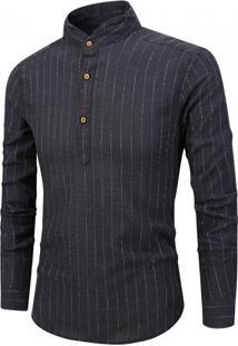 Camisa Masculina Listras Horizontais Gola Mandarim - Preto P