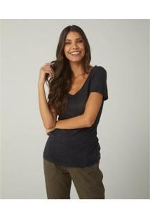 Camiseta Feminina Sidewalk Decote V Linho - Azul Marinho - Feminino