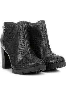 Ankle Boot Couro Tanara Salto Grosso Laser - Feminino