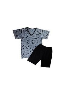 Pijama Grappin Masculino Manga E Short Curto Infantil Juvenil Game-E173