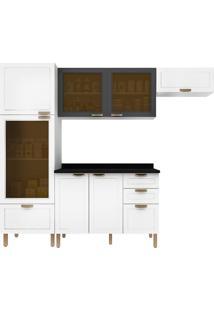 Cozinha Modulada 5 Peças Com Tampo E Nevada 5686Vdtp-Multimóveis - Branco Premium / Grafite Premium