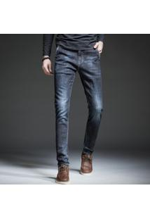 Calça Jeans Masculina Slim Estonada - Preto