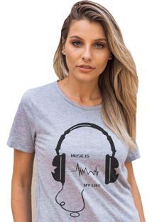 Camiseta Basica My T-Shirt Music Is My Life Mescla - Cinza - Feminino - Algodã£O - Dafiti