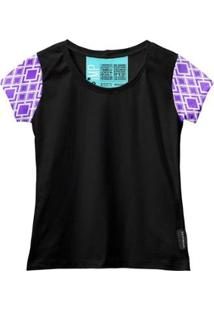Camiseta Baby Look Feminina Algodão Estampa Manga Curta Leve - Feminino-Roxo+Preto