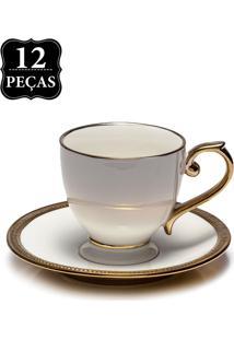 Conjunto De Xícaras De Chá Wolff Porcelana Paddy 12 Pçs Branco/Dourado
