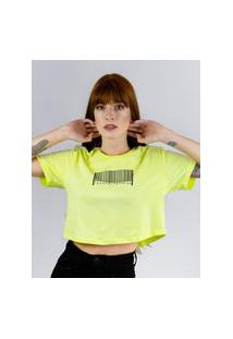 Camiseta Cropped Toneh Estampado Codigo Verde Verde