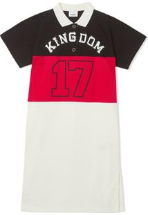 Burberry Kids Vestido Polo Color Block - Preto