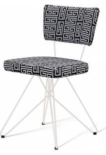 Cadeira Pop Retro Estampa Maze Base Estrela Branca - 49597 - Sun House