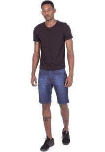 Bermuda Fatal Jeans Slim Confort Fit Azul Masculino - Masculino