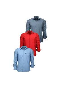 Kit 3 Camisas Social Amil Tecido Não Amassa 832 Chumbo/Vermelho/Azul Bebê