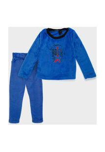 Pijama Longo Fleece Infantil 4 A 10 Anos Thunder Rock Azul