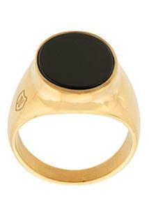 Nialaya Jewelry Onyx Signature Ring - Dourado