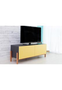 Rack De Tv Preto Moderno Vintage Retrô Com 2 Portas Amarela Eric - 126X43,6X48,5 Cm