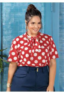 Blusa Com Gola Laço Plus Size Poá Marguerite