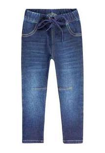 Calça Jeans Infantil Menino Com Amarração Play Jeans Hering Kids Azul