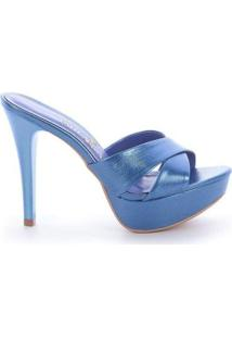 Tamanco Paula Brazil Clara Napa Metalizado Feminino - Feminino-Azul