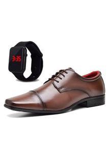 Sapato Social Com Relógio Led Dubuy 807Mr Marrom