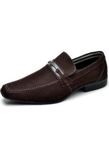 Sapato Social Couro Reta Oposta Masculino - Masculino-Marrom