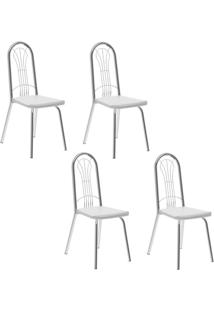 Conjunto 4 Cadeiras Tubo Cromado Napa Branca Carraro