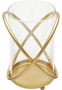 Castiçal Royal Golden Metal E Vidro 21X17Cm Dourado
