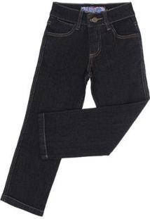Calça Jeans Infantil Tradicional Rodeo Western Masculina - Masculino-Preto