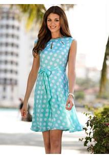Vestido De Bolinhas Com Laço Azul Claro