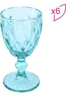 Jogo De Taças Para Vinho Diamond- Azul Claro- 6Pçs