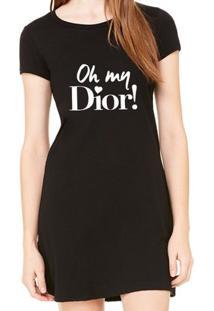 Vestido Criativa Urbana Estampado Oh My Dior - Feminino-Preto