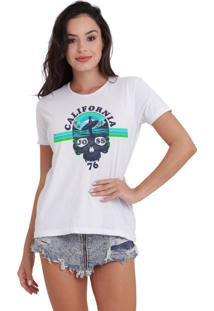Camiseta Basica Joss Caveira California Branca