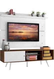 Rack Madesa Cairo E Painel Para Tv Atã© 65 Polegadas Com Pã©S De Madeira - Rustic/Branco/Branco Marrom - Marrom - Dafiti