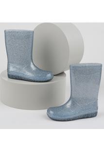 Bota Galocha Infantil Palomino Transparente Com Glitter Azul