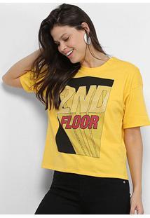 Camiseta Ellus 2Nd Floor 3D Feminina - Feminino-Amarelo
