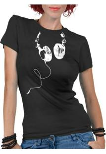 Camiseta Criativa Urbana Fones Nerd Geek - Feminino-Preto