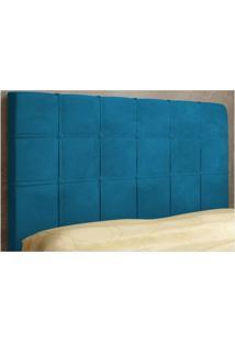 Cabeceira Veneza Para Cama Solteiro Box 90 Cm De Largura Suede Azul