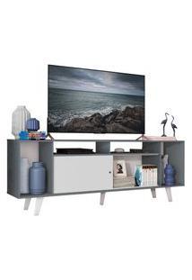 Rack Para Tv Até 65 Polegadas Madesa Cancun Com Pés Cinza/Branco F709 Branco