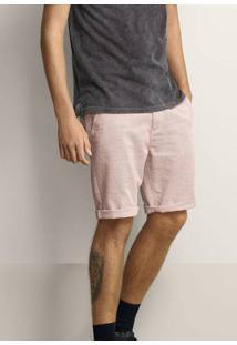 Bermuda Masculina Em Tecido De Algodão Com Textura E Fio Tinto