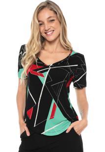Camiseta Sacada Geométrica Preta