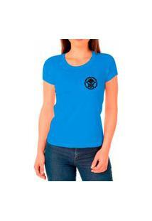 Camiseta Feminina Algodão Básica Confortável Dia A Dia Azul