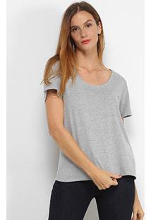 Camiseta Colcci Básica Feminina - Feminino-Cinza